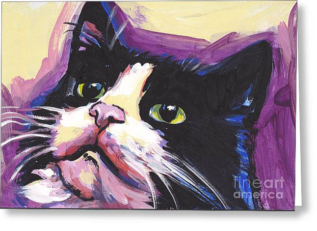 Tuxedo Cat Greeting Card by Lea S