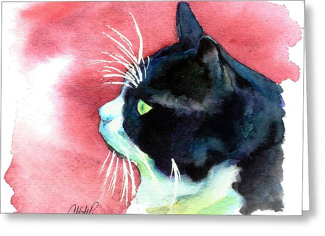 Red Eye Greeting Cards - Tuxedo Cat Profile Greeting Card by Christy  Freeman