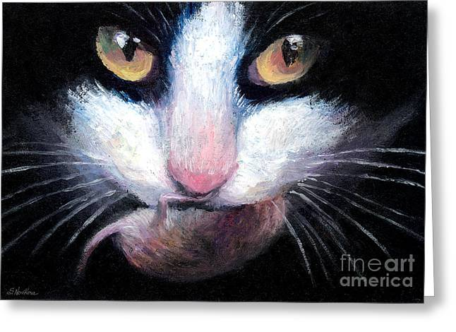 Cat Drawings Greeting Cards - Tuxedo cat with mouse Greeting Card by Svetlana Novikova