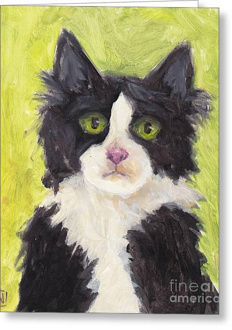 Tuxedo Greeting Cards - Tuxedo on green Greeting Card by Robin Wiesneth