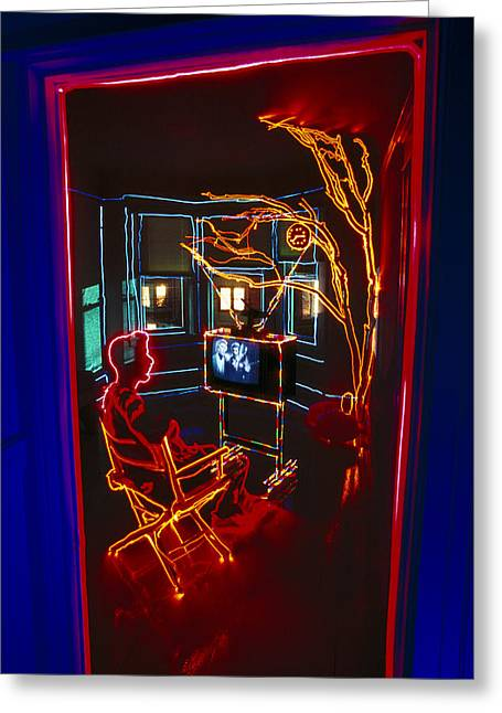 Tv Room Greeting Card by Garry Gay