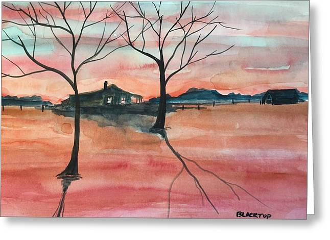 Flooding Paintings Greeting Cards - T V A  Flooding The Valley Greeting Card by Ken  Blacktop  Gentle