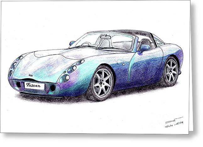 Veteran Drawings Greeting Cards - TVR Tuscan Speed Six Greeting Card by Dan Poll