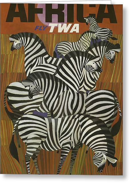 Africa Mixed Media Greeting Cards - TWA Africa Greeting Card by David Wagner