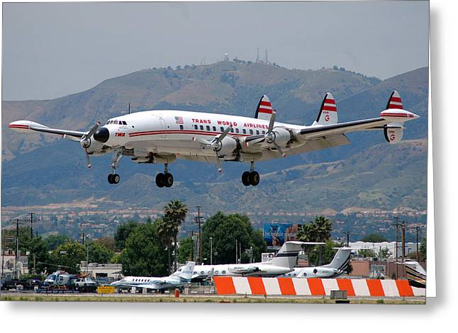 Landing Airplane Greeting Cards - TWA Lockheed Super Constellation N6937C Greeting Card by Brian Lockett