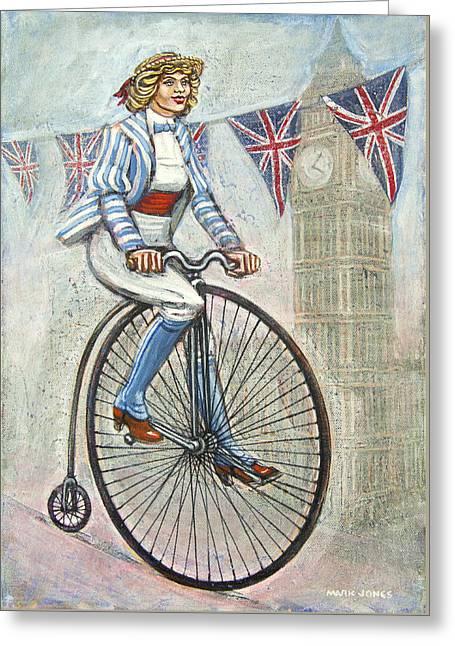 Mark Howard Jones Greeting Cards - Tweed Run Lady in blue on Penny Farthing  Greeting Card by Mark Howard Jones