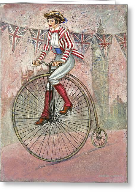 Mark Howard Jones Greeting Cards - Tweed Run Lady in pink  Greeting Card by Mark Howard Jones