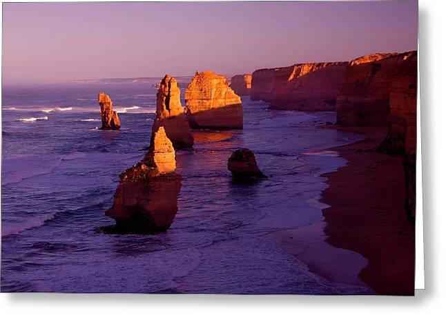 Seastack Greeting Cards - Twelve Apostle Dawn Greeting Card by Mike  Dawson