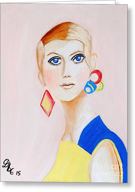 Twiggy Portrait Greeting Cards - Twiggy Greeting Card by Art by Danielle