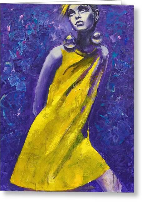 Twiggy Paintings Greeting Cards - Twiggy. Eternal Youth. Greeting Card by Irina Sergeyeva