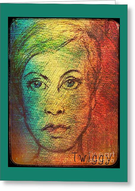 Twiggy Portrait Greeting Cards - Twiggy in Oils Greeting Card by Joan-Violet Stretch