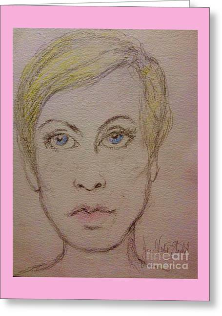 Twiggy Drawings Greeting Cards - Twiggy Greeting Card by Joan-Violet Stretch
