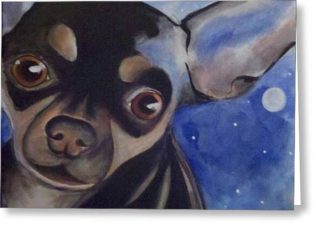 Puppies Paintings Greeting Cards - Twiggy Greeting Card by Lesli Burke
