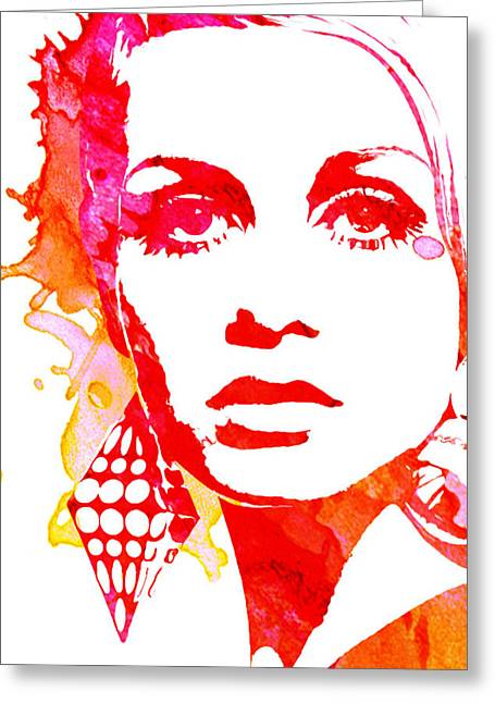 Twiggy Paintings Greeting Cards - Twiggy Greeting Card by Veronica Crockford