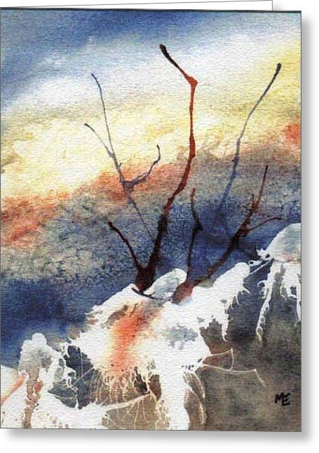 Winter Abstract Greeting Cards - Twigs-n-Ice Greeting Card by Marsha Elliott