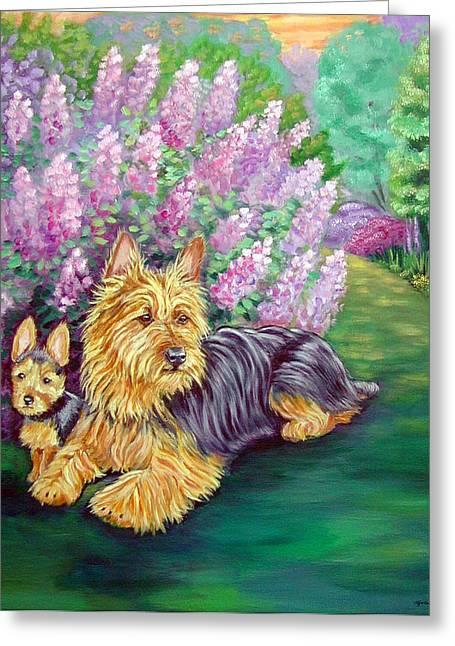 Puppies Paintings Greeting Cards - Twilight - Australian Terrier Greeting Card by Lyn Cook