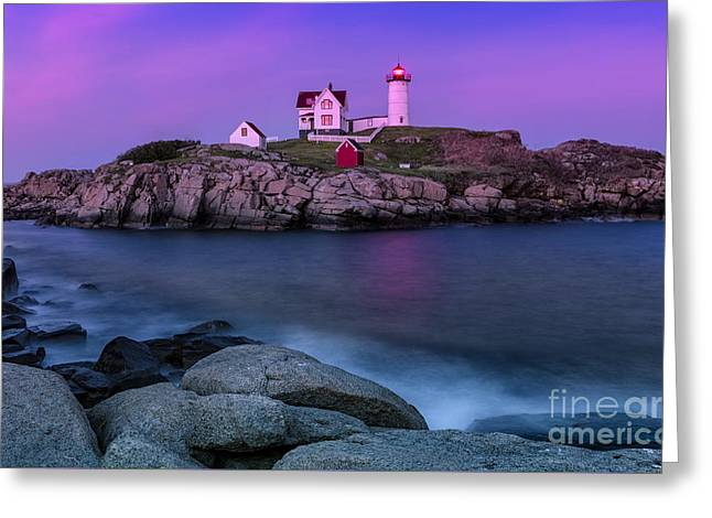 Maine Lighthouses Greeting Cards - Twilight at Nubble Lighthouse Greeting Card by Jerry Fornarotto