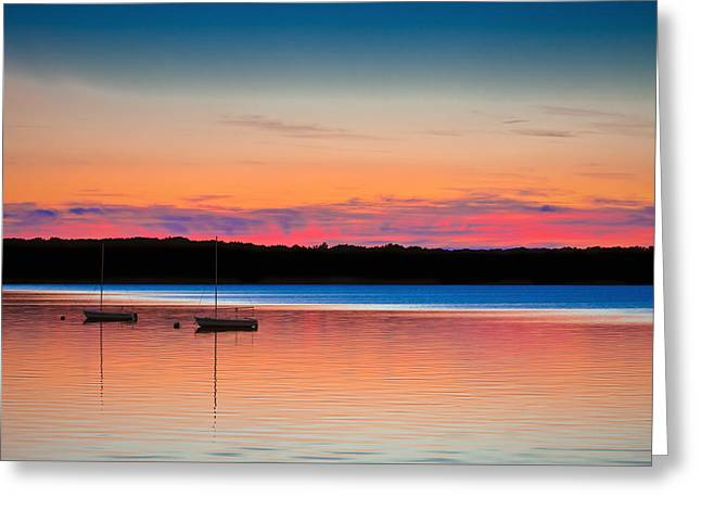 Blue Sailboats Greeting Cards - Twilight at the Reservoir Greeting Card by Steven Maxx