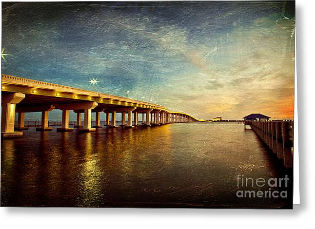 Biloxi Greeting Cards - Twilight Biloxi Bridge Greeting Card by Joan McCool