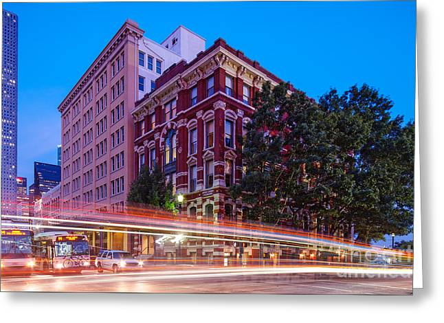 Twilight Blue Hour Shot Of The Cotton Exchange Building In Downtown Houston - Harris County Texas  Greeting Card by Silvio Ligutti