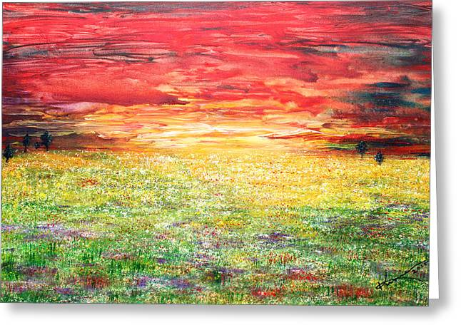 Sunlight On Flowers Greeting Cards - Twilight Bounds Softly Forth on the Wildflowers Greeting Card by Kume Bryant