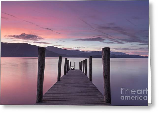 Woodland Scenes Greeting Cards - Twilight Descends Over Derwent Water Greeting Card by John Potter