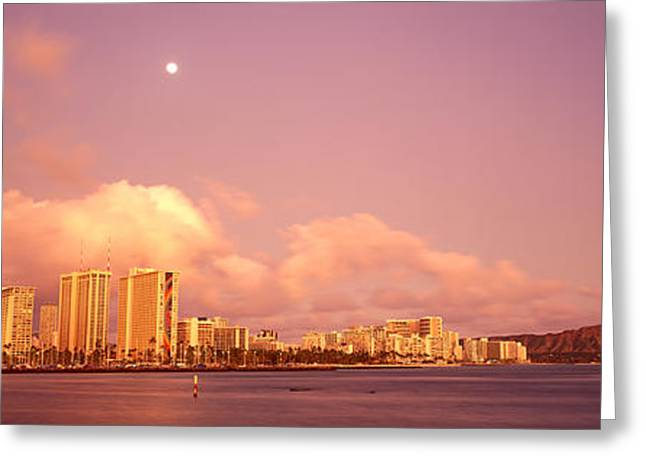 Blue Sailboats Greeting Cards - Twilight Diamond Head Panorama Greeting Card by Carl Shaneff - Printscapes