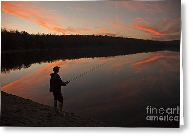 Twilight Fishing Delight Greeting Card by John Stephens