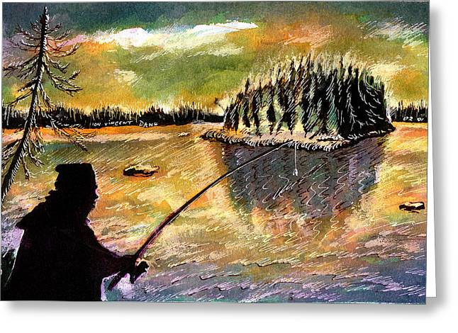 Reserve Drawings Greeting Cards - Twilight Fishing in August Greeting Card by Ion vincent DAnu