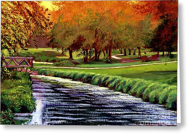Linked Paintings Greeting Cards - Twilight Golf Greeting Card by David Lloyd Glover
