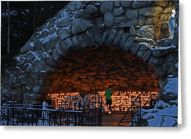 Votive Candles Greeting Cards - Twilight Grotto Prayer Greeting Card by John Stephens