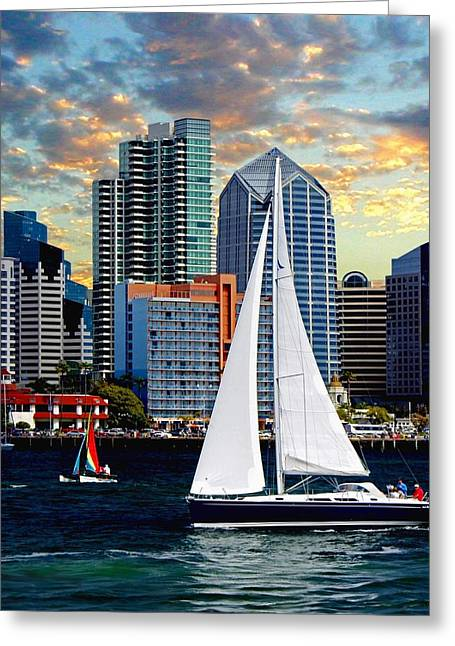 Twilight Harbor Curise1 Greeting Card by Chambers and  De Forge