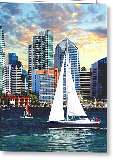 Best Sellers -  - Sailboats At The Dock Greeting Cards - Twilight Harbor Curise1 Greeting Card by Ronald Chambers