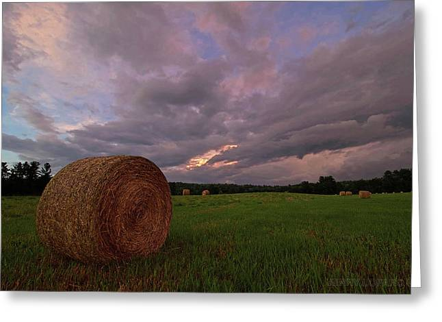 Twilight Hay Bale Greeting Card by Jerry LoFaro
