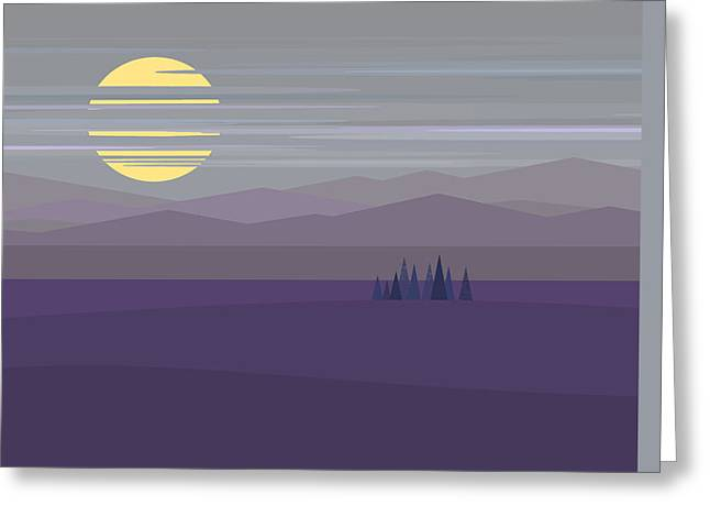 Minimalist Landscape Greeting Cards - Twilight Hue - Big Moon Greeting Card by Val Arie