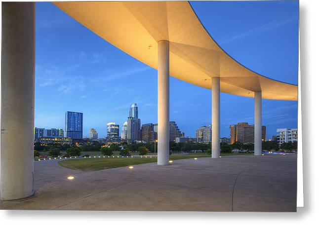 Downtown Austin Greeting Cards - Twilight in Downtown Austin Texas 3 Greeting Card by Rob Greebon
