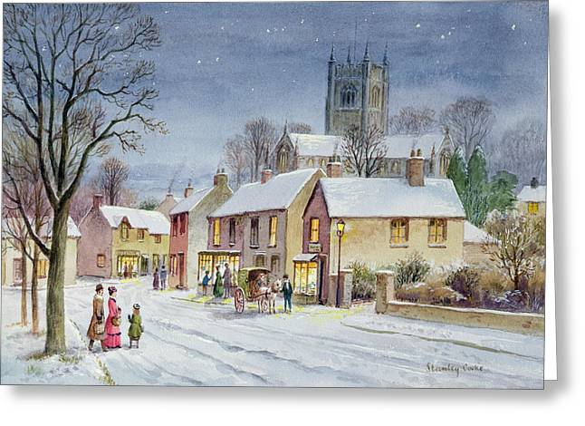 Winter Fun Paintings Greeting Cards - Twilight in the Village Greeting Card by Stanley Cooke