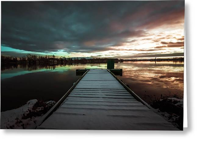 Michelle Greeting Cards - Twilight Lake Greeting Card by Michelle Saraswati