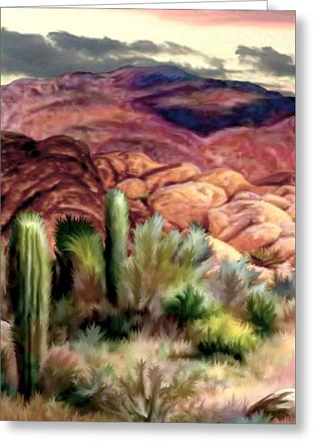 Twilight On The Desert Image 1 Greeting Card by Ron Chambers