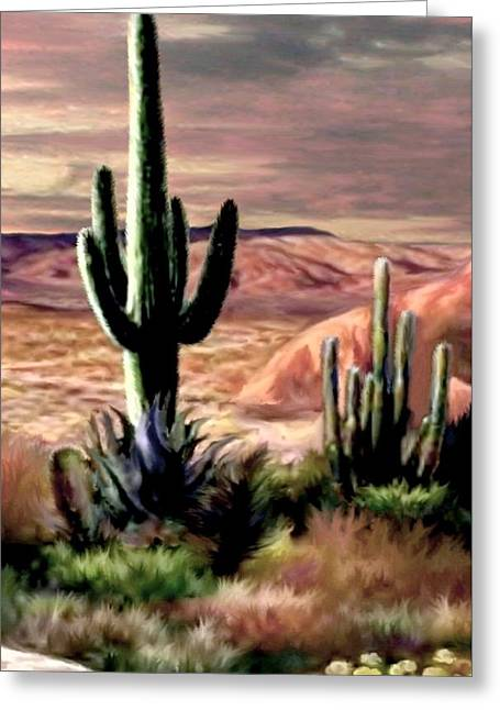 Twilight On The Desert Image 3 Greeting Card by Ron Chambers