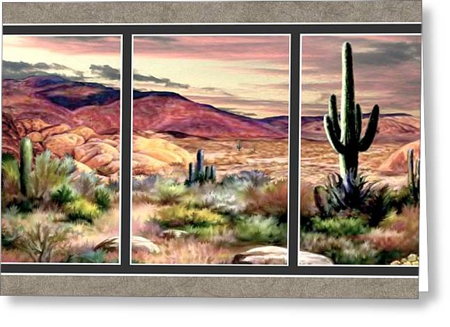 Twilight On The Desert Split Image Greeting Card by Ron Chambers