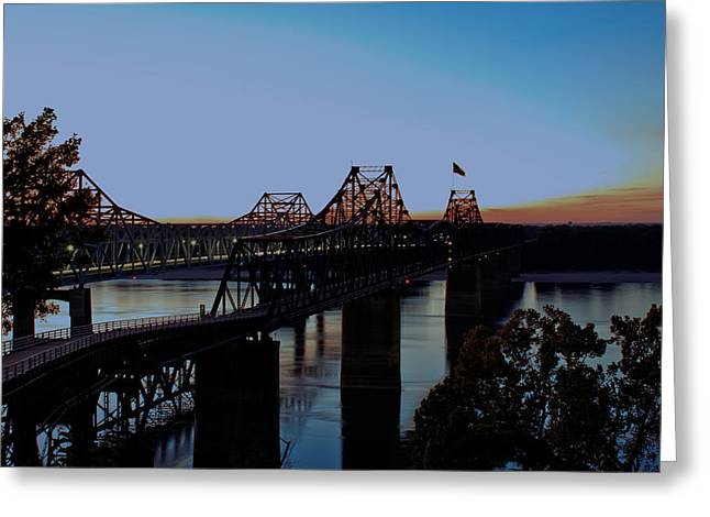 Train On Bridge Greeting Cards - Twilight on the Mississippi - Vicksburg Bridges Greeting Card by Barry Jones
