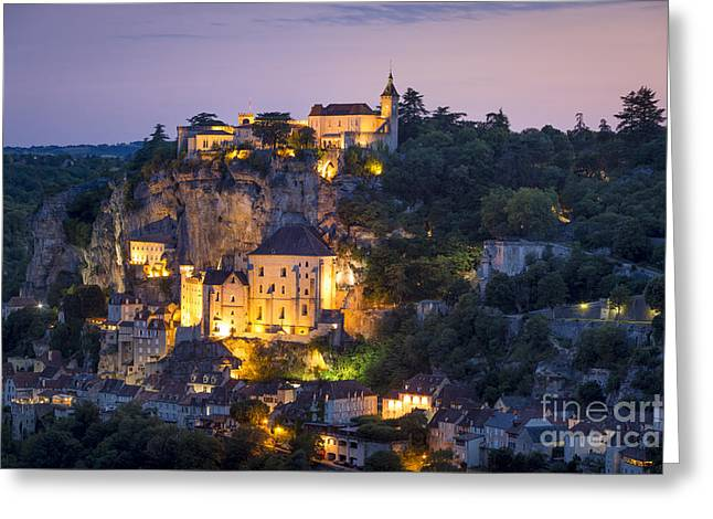 Historic Home Greeting Cards - Twilight over Rocamadour Greeting Card by Brian Jannsen