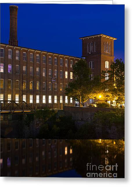 Textile Photographs Greeting Cards - Twilight over the Cocheco Mills Dover New Hampshire Greeting Card by Dawna  Moore Photography