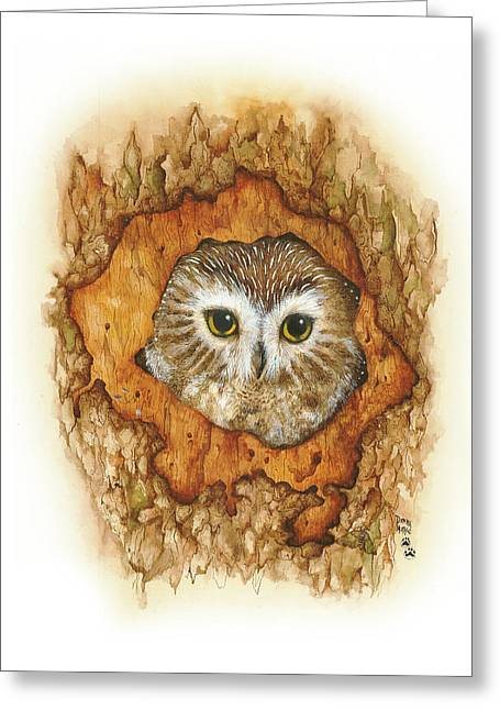 Twilight Owl Greeting Card by Donna Genovese