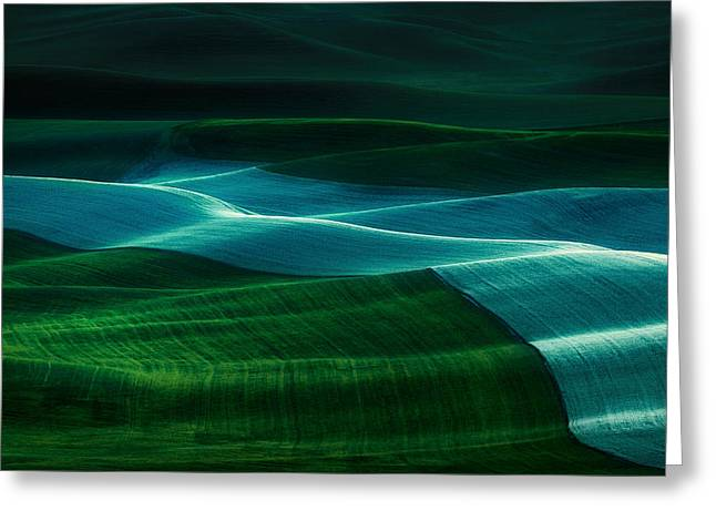 Green Hills Greeting Cards - Twilight Palouse Greeting Card by Gabriel Tompkins