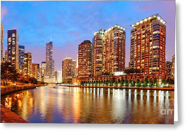 Boat Cruise Greeting Cards - Twilight Panorama of the Chicago River from Lake Shore Drive - Chicago Riverwalk Illinois Greeting Card by Silvio Ligutti