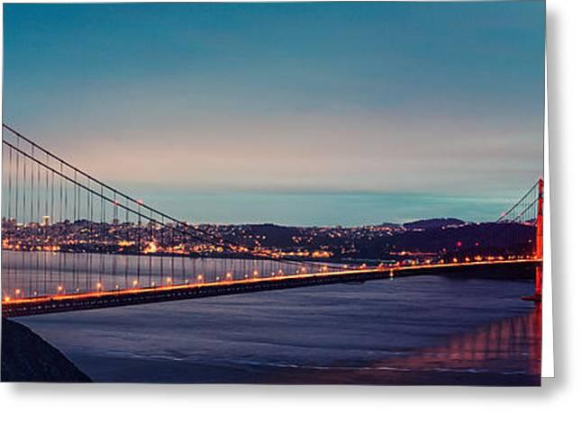 Twilight Panorama Of The Golden Gate Bridge From The Marin Headlands - San Francisco California Greeting Card by Silvio Ligutti