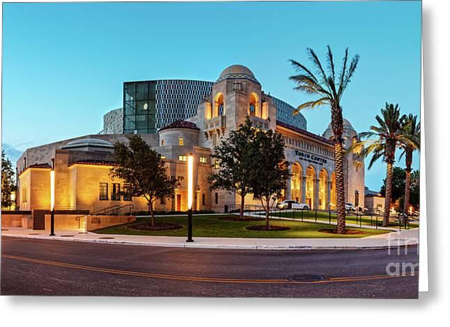 Twilight Panorama Of Tobin Center For The Performing Arts - Downtown San Antonio Texas Greeting Card by Silvio Ligutti