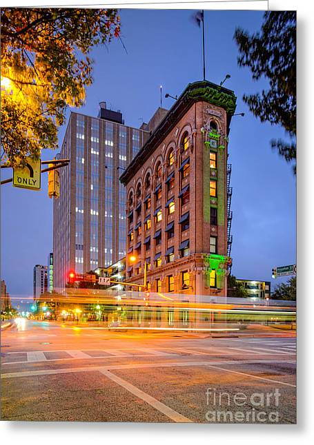 Twilight Photograph Of The Flatiron Building In Downtown Fort Worth - Texas Greeting Card by Silvio Ligutti